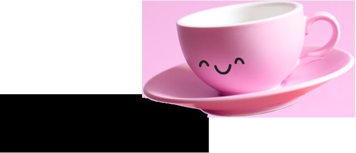 Petite tasse rose souriante